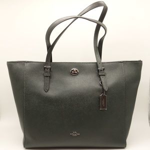 NWT COACH Turnlock Tote Hunter Green Leather Bag